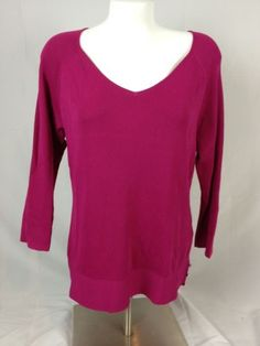 Coldwater-Creek-Sweetheart-Vneck-Sweater-Pink-Purp-Size-M-MSRP-59-95-C1-29
