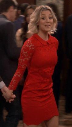 Dress: penny, red, lace, big bang theory, kaley cuoco - Wheretoget