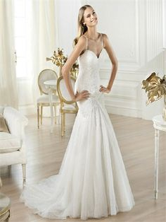 Fashionable Mermaid Slim Straps Sweetheart Low Back Lace Tulle Wedding Dress WD1215