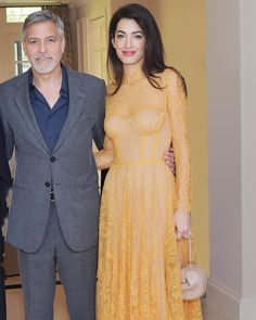 The inspiring Amal Clooney wearing our Embroidered Lace Bustier Hankerchief Dress from the Fall 2019 collection. Yellow Lace Dresses, Fall Dresses, Prom Dresses, Wedding Dresses, Bustier Dress, Sheer Dress, Dress Up, Dress Shoes, Shoes Heels