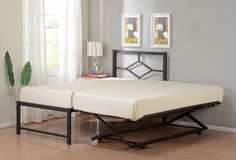 Twin Size Metal Hirise Day Bed (daybed) Frame With Headboard & Pop Up Trundle