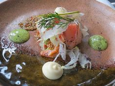 Slow cooked Arctic Char, served with Fennel,Pear,Char-roe & Mustard at Lava Restaurant in Iceland. Photo by Fiona Chandra. Iceland Naturally http://www.bluelagoon.com/food-and-drink