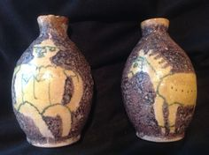 *NO RESERVE* Pair Guido Gambone Italy Modernist Pottery Vases Volcanic Glaze