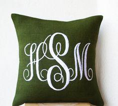 Green Burlap Monogram Pillows Custom Monogram by AmoreBeaute