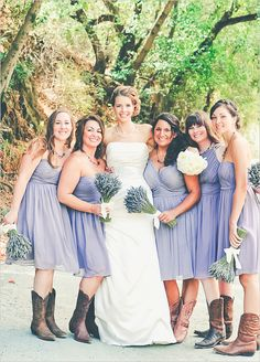 Purple bridesmaids with cowgirl boots. Captured By: Three Little Birds Photography and Emily Shores Photography ---> http://www.weddingchicks.com/2014/05/12/northern-california-farm-wedding/