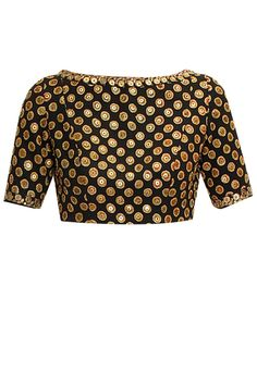 Boat Neck Fully Embroidered Blouse – Black boat neck blouse featuring embroidery all over, embellished with sequins and has elbow length sleeves and round cut out on the back. Saree Blouse Patterns, Sari Blouse, Saree Blouse Designs, Blouse Styles, Indian Attire, Indian Ethnic Wear, Indian Outfits, Sabyasachi Sarees, Anarkali