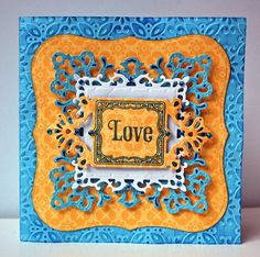 #JustRite Ornate Happiness Squares w/ #Spellbinders Ornate Squares, Fleur de Lis Squares and Grand Labels One #SamanthaWalker Designs