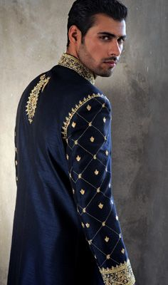 "There's a reason it's called ""royal"" blue. ;) Stunning sherwani for your groom. #indian"