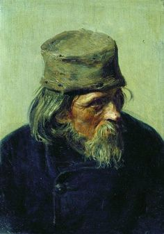 Seller of student works at the Academy of Arts, 1870 by Ilya Repin. Realism. portrait