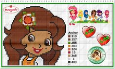 Strawberry Shortcake - Orange Blossom - cross stitch/perler bead pattern by Carina Cassol