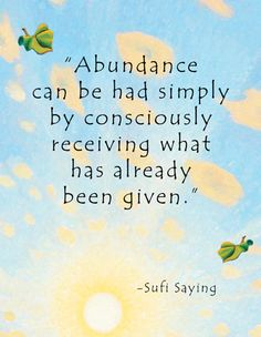 """Poster for Cafe Gratitude by Julia Stege of magical-marketing.com. Quote: """"Abundance can be had simply by consciously receiving what has already been given."""" Lao Tzu"""