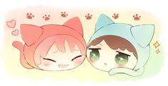 Cat squishy bean ...  From nrmimi_ ... Free! - Iwatobi Swim Club, free!, iwatobi, rin matsuoka, matsuoka, rin, sousuke, yamazaki, sousuke yamazaki, squishy bean