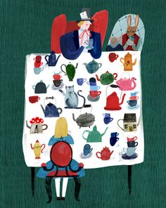 artwork by Grace Easton - Alice in Wonderland - the Mad Hatter - #illustration #Aliceinwonderland