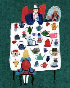 artwork by Grace Easton - Alice in Wonderland - the Mad Hatter - #illustration #Aliceinwonderland
