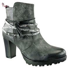Angkorly - Chaussure Mode Bottine chelsea boots rangers femme perforée Talon haut bloc 7 CM - Bleu - DH940 zyN6hXfo4