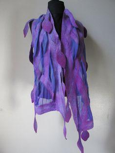 Nuno Felt  Scarf  lilac  falling violet leaves via Etsy