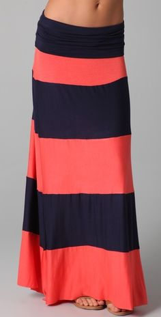 Navy and Coral maxi skirt