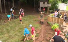 "More than 50 volunteers rallied on Wednesday to overhaul 7-year-old Bryan Carroll's backyard, which is the extent of his outside world as he battles leukemia. It's a gesture that dad Sean calls ""amazing."""