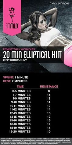20 min elliptical HIIT workout by fitmiss.
