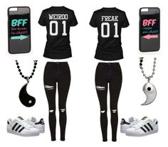 A fashion look from April 2016 featuring Topshop jeans, adidas Originals sneakers and JFR tech accessories. Browse and shop related looks. Twin Outfits, Cute Teen Outfits, Funny Outfits, Teenager Outfits, Teen Fashion Outfits, Outfits For Teens, Cool Outfits, Trendy Outfits, Matching Outfits Best Friend