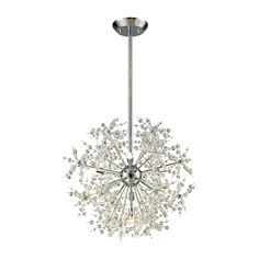 Snowburst 7 Light Chandelier In Polished Chrome Finish Polished Chrome Material Metal,Crystal Weight Height Length Width LED No Bulb Type Elk Lighting, Wall Sconce Lighting, Pendant Lighting, Light Pendant, Ceiling Chandelier, Ceiling Lights, Modern Chandelier, Ceiling Fan, Globe Lights