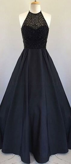 New Style Elegant Prom Dress Black Prom dresses 2017,Black round neck satin long prom dress, black evening dress