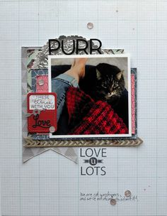 """Just plain A.D.O.R.E. this scrapbook page Laura O'Donnell created! The """"love"""" pocket element (created with stamps and steel dies from TechniqueTuesday.com) is my favorite!"""