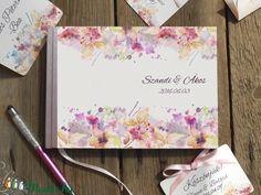 Esküvői Emlékkönyv, Virágos könyv, Rózsa, Virág, Esküvői vendégkönyv, rózsaszín, Party (LindaButtercup) - Meska.hu
