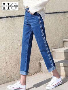 80ee3009176b HEE GRAND Cuffs Mom Jeans for Women High Waist Side Stripe Smart Jeans Wide  Leg Pockets Women Trousers Washed Loose Pants WKN595