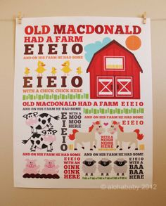 Old MacDonald poster by alohababydesign on Etsy, $20.00. Would be perfect for the playroom!