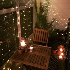 Small balcony decor ideas for an apartment. Hanging string lights window curtain string lights succulents desert plants candles lanterns summer v Apartment Decoration, Apartment Balcony Decorating, Cozy Apartment, Apartment Ideas, Apartment Balcony Garden, Apartment Balconies, Apartment Plants, Apartment Gardening, Small Balcony Decor