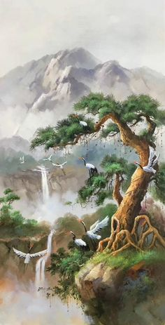 hand-made oil painting,decoration,mural. Chinese Landscape Painting, Fantasy Landscape, Oil Painting Abstract, Landscape Art, Landscape Paintings, Painting Canvas, Fantasy Art, Nature Paintings, Beautiful Paintings