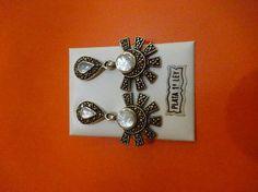 Pendientes plata cordobesa y nácar diseño azteca