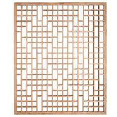 Bleached Lattice Panel  China  20th Century  Chinese Lattice Window Panel of Minimal Geometric Design. Pale Raw Softwood.