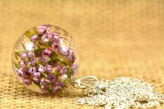 Real Heather Pendant Natural Heather Necklace Heather