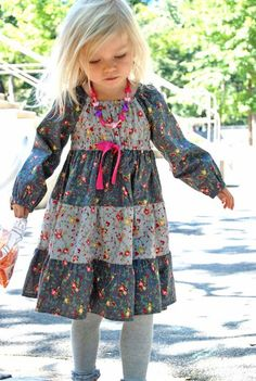 Astra Peasant Dress Pattern for Girls Sizes: 12months-12years Dress Features: Comfortable yet stylish peasant dress silhouette with empire waist and
