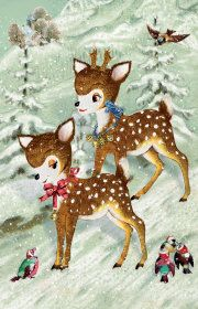 Roger la Borde | Cute retro deer Greeting Card from the Festive Fairyland range by Barbara Behr #Christmas #vintage #stationery