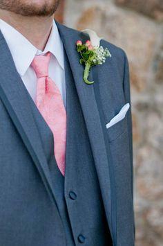 wedding mens gray suit with coral tie davids bridal