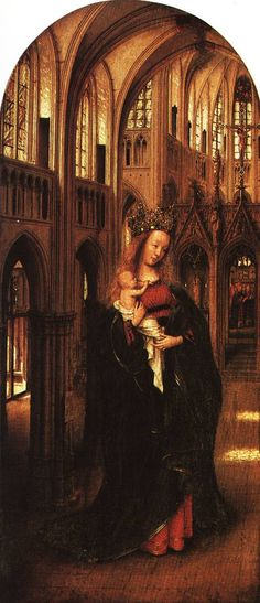 The Madonna in the Church is a Northern Renaissance Oil on Panel Painting created by Jan Van Eyck in It lives at the Gemäldegalerie, Berlin in Germany. The image is in the Public Domain, and tagged The Virgin Mary and Cathedral. Renaissance Artists, Renaissance Paintings, Walt Disney Pictures, Jan Van Eyck Paintings, Ghent Altarpiece, Mother Of Christ, City Of God, Renaissance, Frames