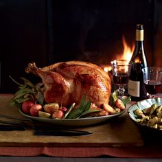 In this turkey recipe, chef Michael Symon glazes his luscious Thanksgiving turkey with cider-and-sage butter and serves it with beer-spiked gravy.
