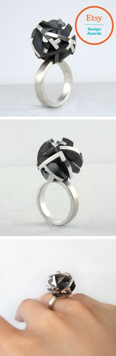 3D printed ring in oxidized sterling silver, geometric 3D printed jewelry. This special piece by Fairina Cheng won a prize in the Etsy Design Awards.