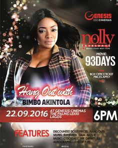 #EventWorthAttending. The next edition of Genesis Cinemas Nolly Thursdays will hold tomorrow @GenesisCinemas Lekki Our special guest for this edition isBimbo Akintolafor the movie 93 Days. Bimbo Akintolais one of the most versatile character in the Nollywood Movie Industry. She started acting as a pupil with her peers for the schools end-of-year drama events. Her debut acting featured her in the film Owo Blow (1995) and Out of Bounds (1997) for which she was awarded the Best Actress/English…