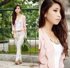 Blending In (by Kryz Uy) http://lookbook.nu/look/4066332-Blending-In-Love-Blazer-Sm-Gtw-Pants-A-Flat-Flats-Love-Necklace