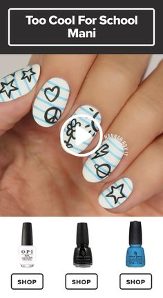 How to Get a Too Cool for School Nail Manicure Check out this amazing floral nail design! get a matte snowflake nail art look for this holiday season with … Nail Art Vernis, Nail Manicure, Diy Nails, Nail Polish, Cute Nail Art, Nail Art Diy, Cute Nails, Nagellack Design, School Nails