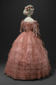 Bright Pink Tulle & Taffeta Ball Gown Trimmed with Blonde Lace. American or French, c. 1858. (View 2)