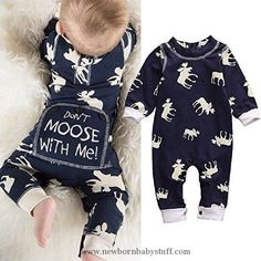 Baby Boy Clothes Toddler Infant Baby Girl Boy Long Sleeve Deer Romper Jumpsuit Pajamas XMAS Outfit