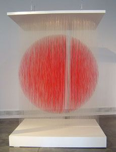 Jesus Soto (1923-2005).  Energy is one of the most striking elements of Soto's work and his experiments with optical effects are representative of some of the most successful of the Op Art-Kinetic Art movements. Soto's work, however, surpasses the mere exploitation of optical effects and he presents in his paintings a concentration of energy which attain a point where the paintings become a mirage, kinesthetically like a mental tension.