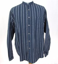 Scully Shirt XL Western Blue Striped Sheriff Star Badge Button Banded Collar C17 #Scully #Western