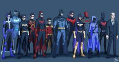 Here are Gotham's crusaders from left to right: Huntress (Helena Wayne), Batwing (David Zamvimbi), Blackbat (Cassandra Cain), Red Robin (Tim Drake), Batwoman (Kate Kane), Robin (Damian Wayne), Batman (Bruce Wayne), Nightwing (Dick Grayson), Batgirl (Barbara Gordon), Red Hood (Jason Todd), Spoiler (Stephanie Brown), Batman Beyond (Terry McGinnis), and Butler (Alfred Pennyworth)