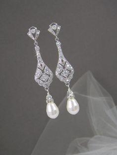 Bridal Earrings Long Wedding earrings, Swarovski bridal jewelry, Bridesmaid earrings, Pearls, Kristy Bridal Earrings on Etsy, $44.00